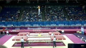 Man jumping on olympic trampoline